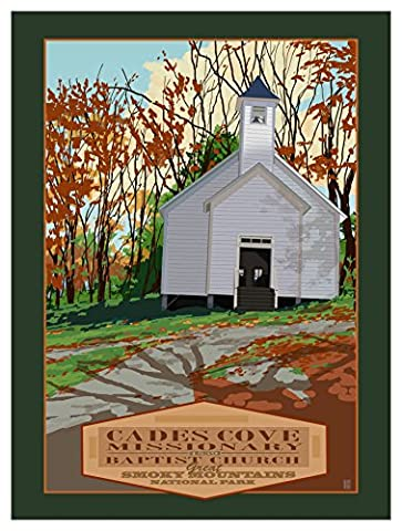 Cades Cove Missionary Smokey Mountains National Park Giclee Travel Art Poster by Artist Mike Rangner (9 x 12 inch) Art Print for Bedroom, Family Room, Kitchen, Dorm Room or Office Wall - Cades Cove Smokey Mountains