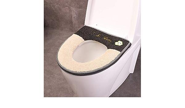 Beige wangruimei coj/ín WC Espesada con la Cremallera coj/ín del Asiento del Inodoro Asiento de Inodoro de la Felpa en Forma de U en Forma de O