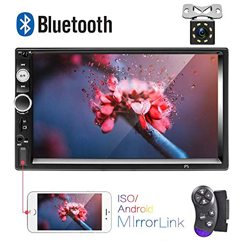 "AMprime Bluetooth Car Stereo 2 Din 7"" Touch Screen Car Radio FM Receiver MP5 Player Mirror Link for iOS/Android Phone with Dual USB/AUX-in/SD Slot+ Backup Camera + Steering Wheel Remote Control"