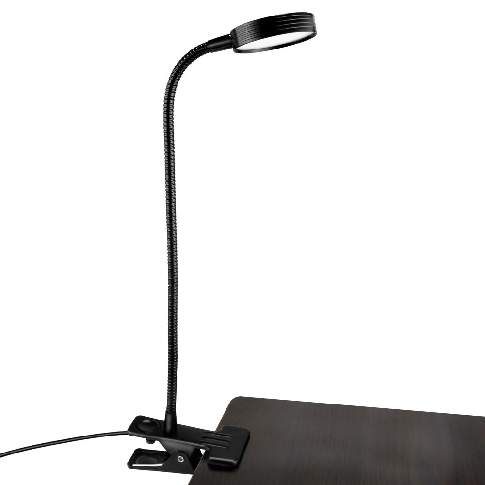 Akaho Desk Lamp, Dimmable LED Gooseneck Reading Lights, Adjustable Eye Care 2 Color Temperature USB Clamp Lamp, Portable Clip on Light Suitable for Table, Office, Bedrooms and Bed Headboard ( Black)