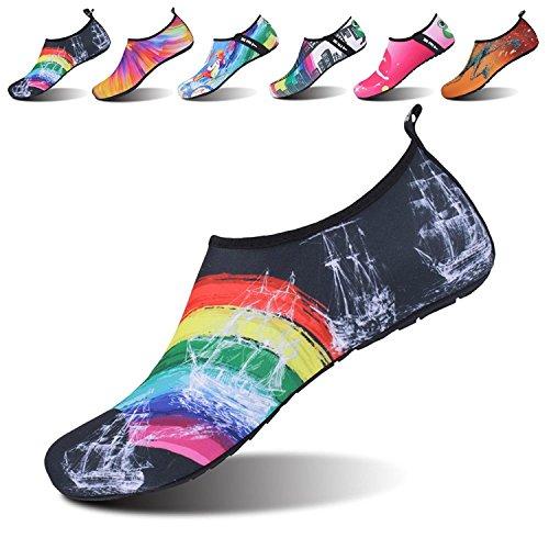 Neufashion Water Shoes A Piedi Nudi Quick-dry Aqua Yoga Socks Slip-on Design Scarpe Sportive Outdoor Per Uomo Donna Bambini, Scarpe Da Sport Acquatici, Scarpe Da Sub Arcobaleno