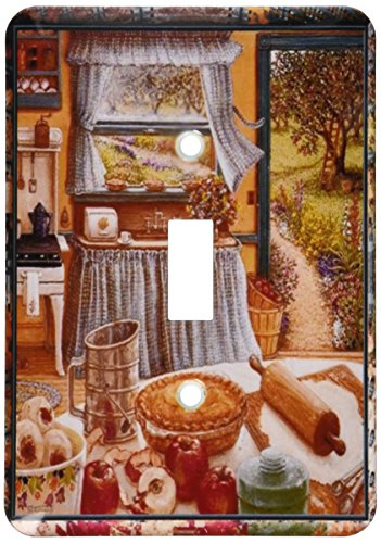 3dRose lsp_167215_1 Home Cooking and Country Art, Apple Pie and Kitchen Art Light Switch Cover