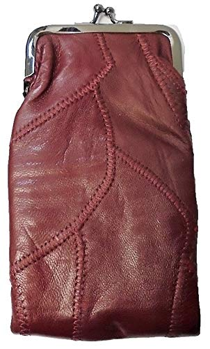 Lambskin Patched Leather - Eclipse Burgundy Patched Full Lamb Skin Cigarette Case Pouch, Coin Purse, 120s, 3212P