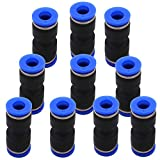 Push to Connect Fittings 6mm OD - DERNORD 10 Pack Plastic Push to Connect Fittings Tube Straight Connect 6 Mm to 6 Mm Push Fit Fittings Tube Fittings Push Lock (6mm Straight)