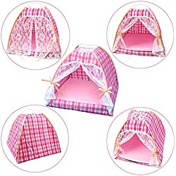 QBLEEV Pet Supplies Dog Kennel Cat Litter Breathable Tent Nest Pad With Ice Silk Mat (Pink Plaid, M)