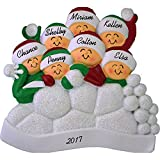 """Snowball Fight Personalized Christmas Ornament (7 People) - Family Fun in the Snow - Handpainted Resin - 4"""" Tall - Free Customization by Calliope Designs"""