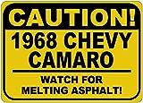 1968 68 CHEVY CAMARO Caution Melting Asphalt Sign - 10 x 14 Inches