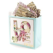 """Hallmark Signature 10"""" Large Gift Bag with Tissue Paper (Love Always) for Weddings, Bridal Showers, Mother's Day and More"""