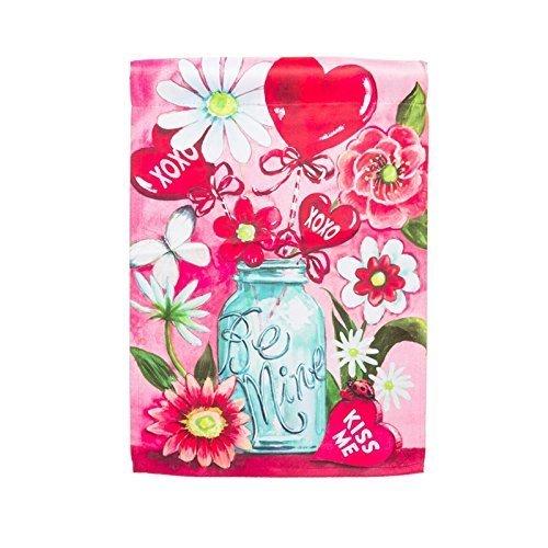 Be Mine Mason Jar Valentine Bouquet Garden Flag by Evergreen Enterprises - Bouquet Flag