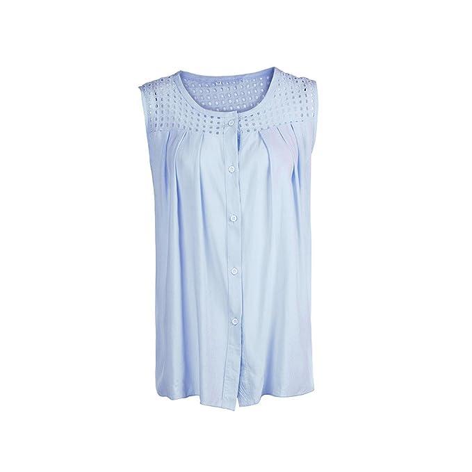 Logobeing Ropa Mujer Verano Blusa Sin Mangas con Botones de CuadríCula Camisa Superior Crop Tank Chaleco: Amazon.es: Ropa y accesorios