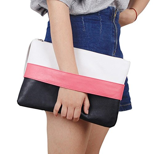 Patchwork Wristlet Purse - Unique Patchwork Design Women's Clutch Handbag Wristlets for Beach Holiday Travel