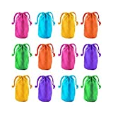 Super Z Outlet 7' x 4.5' Neon Colored Canvas Pouch Bags Sacks with Drawstring Closure for Birthday Party Favors, Snacks, Decoration, Jewelry, Gifts, Event Supplies (12 Bags)