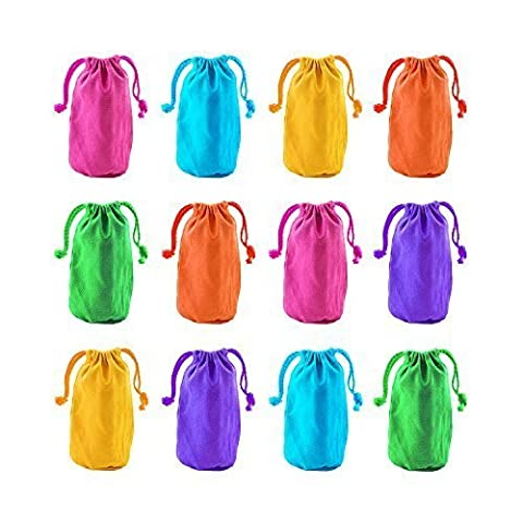 Super Z Outlet Neon Canvas Bags with Drawstring Closure, 7 x 4.5-Inch (12 Bags) - Wholesale Outlet