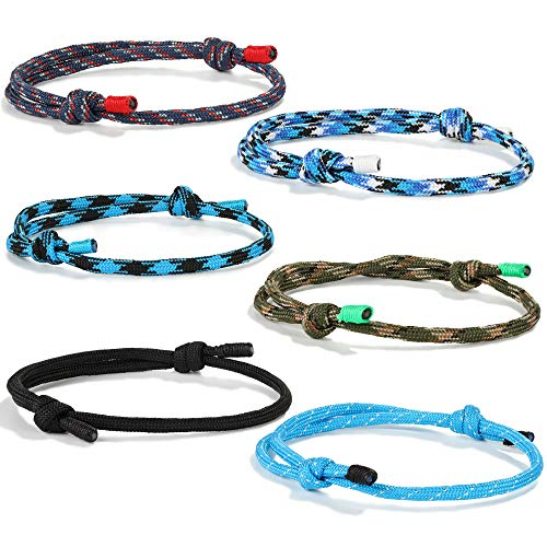 FIBO STEEL 4 Pcs Braided Nautical Bracelets for Men Handmade Navy Rope String Cool Bracelet Adjustable (B:4 Pcs a Set)]()