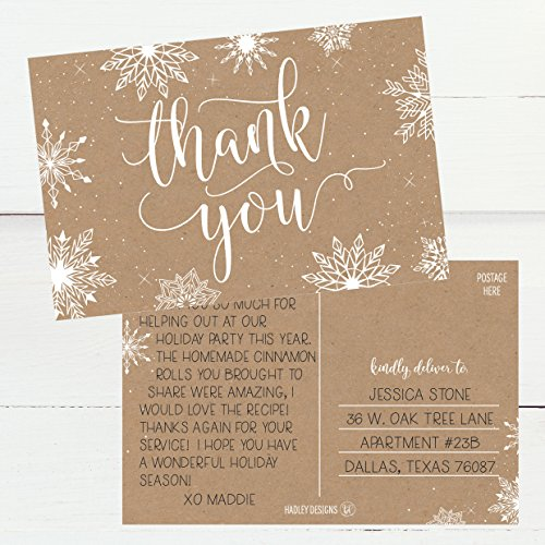25 4x6 Blank Christmas Holiday Thank You Postcards Bulk, Cute Kraft Winter Snowflake Note Card Stationery For Wedding, Bridesmaids, Bridal or Baby Shower, Teachers, Religious, Business Cards Photo #2