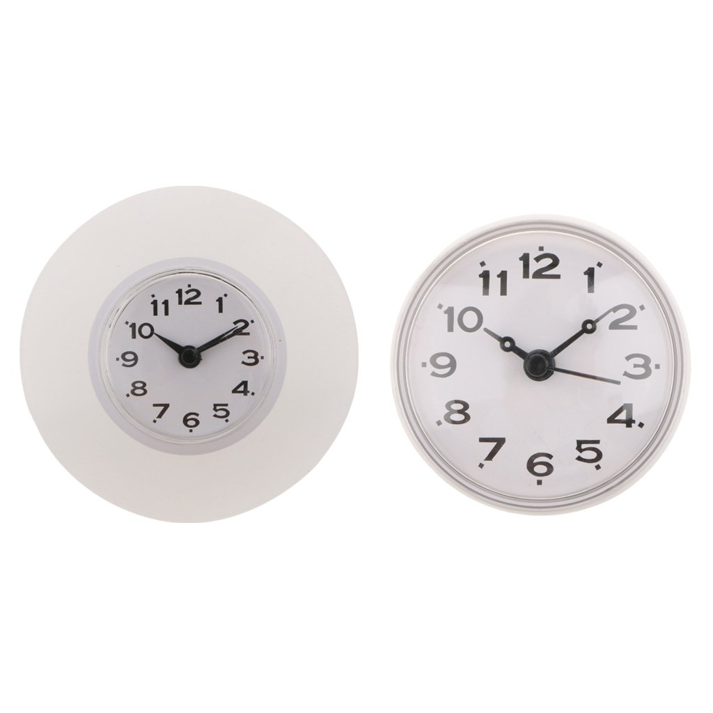 Baoblaze 2x Mini Silicone Waterproof Clock Kitchen Bathroom Shower Timer Clock Mirror Glass WIndow Car Wall Sucker Clocks