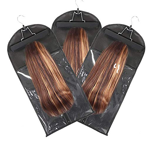 3 PCS Wig Bag, Storage Bag for Extension with Wooden Hanger, Hair Extensions Bag, Wig Storage, Hair Extension Holder and…