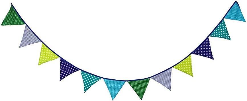 RED WHITE /& BLUE FABRIC BUNTING FLAGS WEDDING PARTY DECORATION 2MT OR MORE