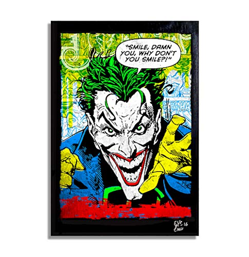 The Joker from Batman, Dc Comics - Pop-Art Original Framed Fine Art Painting, Image on Canvas, Artwork, Movie Poster]()