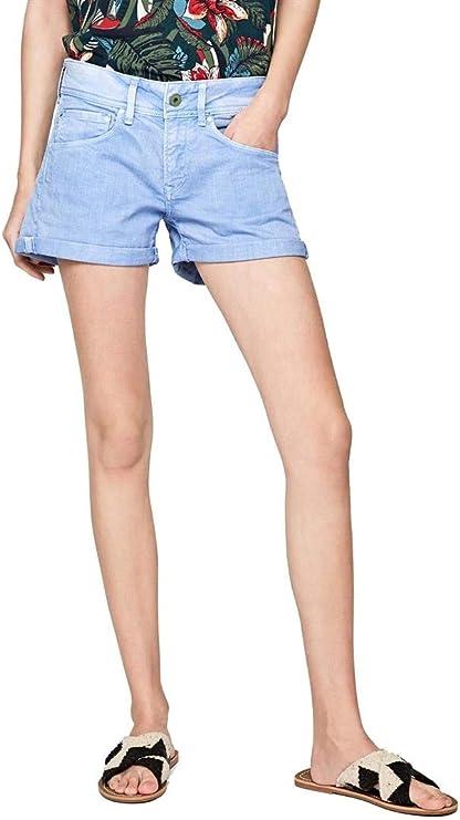 Pepe Jeans Short Siouxie Bleu Femme: : Vêtements et