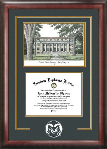 Campus Images CO999SG Colorado State University Spirit Graduate Diploma Frame with Lithograph Print, 8.5