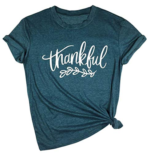 YUYUEYUE Thankful Feathers T Shirt Women Thanksgiving Christian Letter Print Short Sleeve Tops Tees (X-Large, Green)
