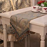 Yoovi Luxury Table Runners with Beads Tassels Table runners for Home Hotel Restaurant Decoration (14'' x 86.5'', green beads)