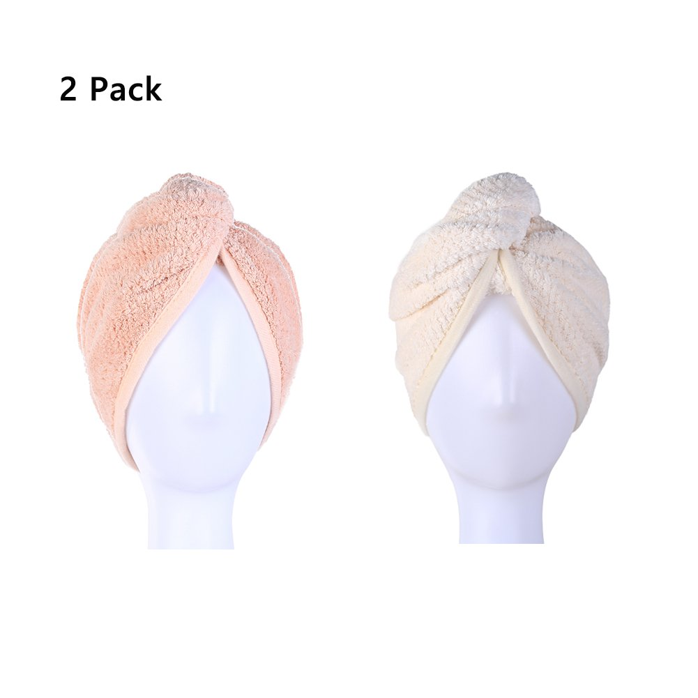 M-bestl Hair Drying Towel,Hair Towel Wrap,Hair Towel Turban with Button Design (Pink&Beige -2 Pack)