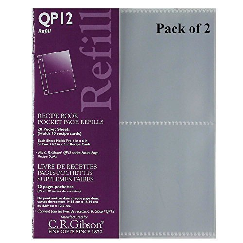 C.R. Gibson QP-12 Small Recipe Book Pocket Page Refill 20 Sheets (Pack of 2) (Hole 20 Sheet)