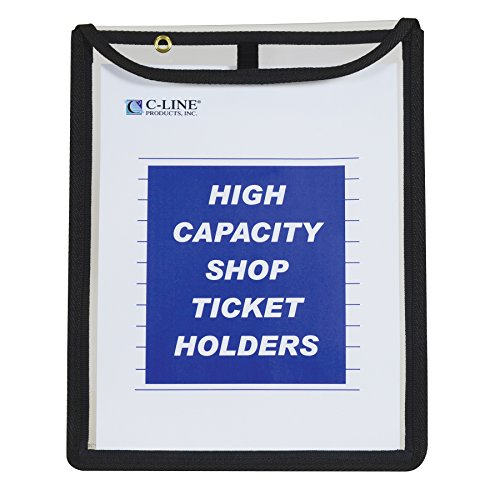 Shop Service Manual Binder - C-Line High Capacity Stitched Shop Ticket Holders, Gusseted with Flap Closure, Both Sides Clear, 1 x 9 x 12 Inches, 15 per Box (39912)