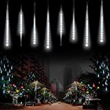 MUEQU LED Meteor Shower Lights, Waterproof Solar Raindrop Lights Garden Decorative String Lights with 30cm 10 Tubes 360LEDs,Cascading lights for Party Wedding Christmas Tree Patio Decoration(White)