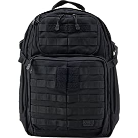 5.11 Tactical RUSH24 Military Backpack, Molle Bag Rucksack Pack, 37 Liter Medium, Style 58601 41 Quite simply the best tactical military backpack on the market. This Rucksack bug out bag features a roomy main storage area, dual zipping side pockets and a stuff-it pocket with integrated draw cord and glove friendly pull tabs. Rush24 Tactical Molle bag has a reinforced grab-and-go handle, hydration pocket, zippered fleece-lined eyewear pocket and wrap-around MOLLE/SlickStick web platform. Military Backpack has 2275 cubic inch / 37 liter total capacity with Twin drainage grommets, and self-repairing YKK zippers. Perfect to use as a patrol backpack or trekking pack.