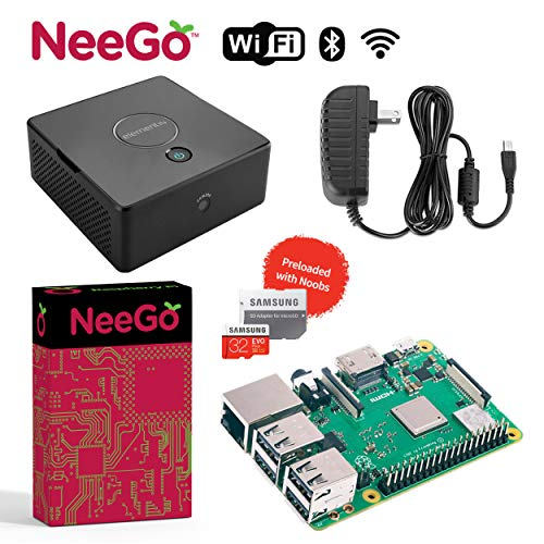 NeeGo Bundle  4-Piece Build Your Own Computer Set Includes Raspberry Pi 3 B+ Motherboard, 32G SD Card w/Preloaded Noobs Operating System, Desktop Case Enclosure & 6-Foot 2.5A Power Supply