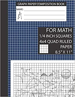 graph paper composition book for math 4x4 graph paper notebook 8 5