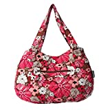 Quilted Cotton Handle Bags Shoulder Bag (Pink&Coffee)