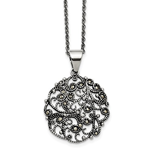 Jewelry Necklaces Necklace with Pendants Stainless Steel Marcasite Textured Circle Necklace