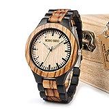HWCOO Hermoso reloj de madera, Unisex Reloj De Madera Reloj De Madera De Cuarzo Reloj De Madera De Alta Gama (Color : 1)