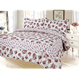 Rose Floral Printed Bedding 3 Piece Bedspread Quilt Set - Queen Size
