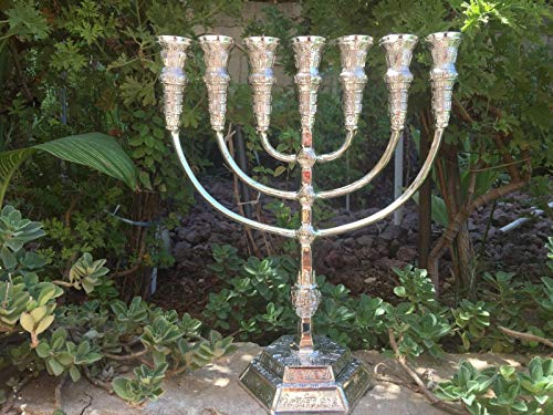 Yaliland Menorah Jerusalem Temple 14 Inch Height 35 cm 7 Branches Silver Plated XL by Yaliland (Image #2)