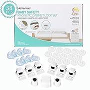 Homemaxs Magnetic Cabinet Locks Child Safety Kit Including 6 Locks and 2 Keys, 8 Corner Guards Protectors, 15 Plug Covers - 38PCS