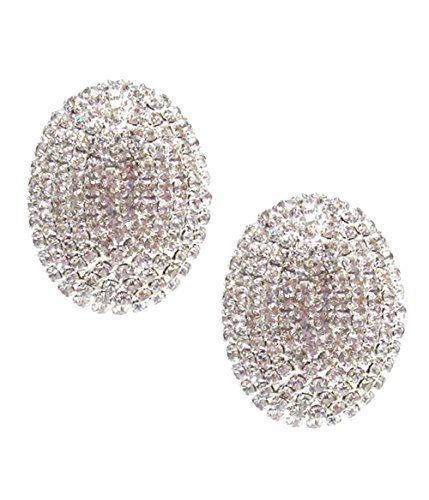 Chunky Domed Clear Rhinestone Oval Shaped Clip Earrings in Silver-Tone, Prong Set, 1 1/8
