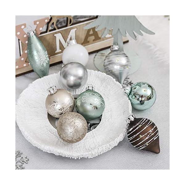Valery Madelyn Palle di Natale Vetro Addobbi Natalizi Set, 24 Pezzi 6-10cm White, Brown, Silver And Light Green Palline di Natale Decoration for Addobbi Natalizi per Albero 7 spesavip