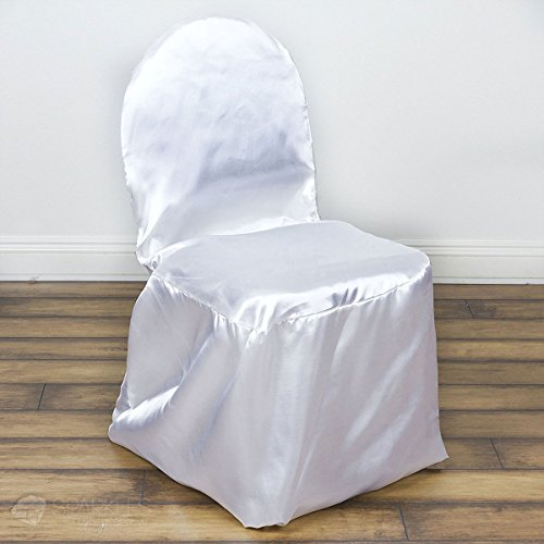 (Sparkles Make It Special 50 pc Satin Banquet Chair Covers - Wedding Reception Banquet Party Restaurant - White)