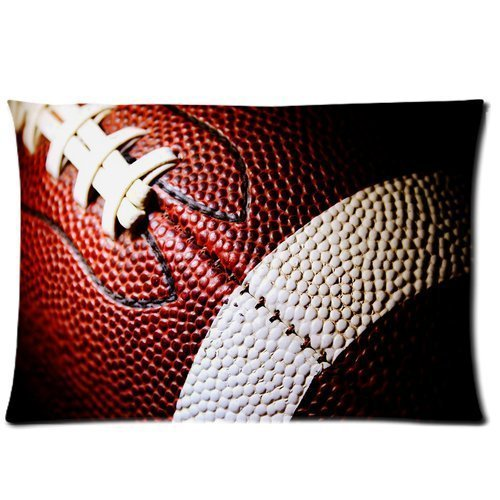 Personalized Football Theme Custom Zippered DIY Cushion Cover Pillow Cases Standard Size 20 by 30 Inches (Twin sides)