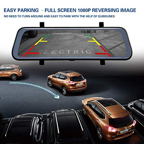 10 Inch Mirror Dash Cam Full Touch Screen, Poaeaon Backup Camera Stream Media, 1080P 170° Front and 1080P 150° Wide Angle Full HD Rear View Camera with G-Sensor, Night Vision (Free 32GB SD Card) by Poaeaon (Image #7)