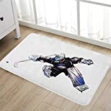 Hockey Bath Mat for tub Goalkeeper in Hand Drawn Style with Protective Gear in a Competitive Game door mats for inside Bathroom Mat Non Slip Backing20''x31'' Purple Black White