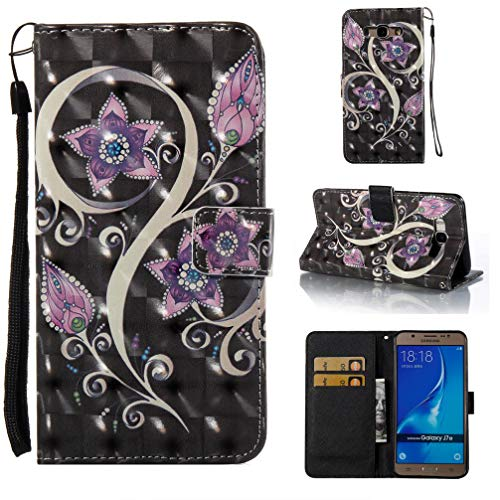 - Case for Galaxy J710/J7 2016,Slim Flip Kickstand [3D Printing] Pu Leather Wallet Case Inner Bumper Card Holder with Wrist Strap & Magnetic Closure Compatible with Samsung Galaxy J710/J7 2016 -Purple