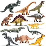 Prextex Realistic Looking 10'' Dinosaurs Pack of 12 Large Plastic Assorted Dinosaur Figures