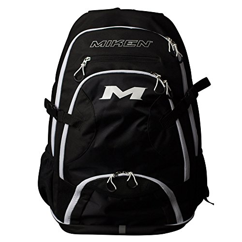 Miken Players Backpack (with 4 Bat Slots and Laptop Sleeve), Black/White