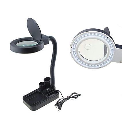 Lupa Escritorio Mesa de Iluminación,Aumento de 5X 10X LED Iluminador Ampliador de la Lámpara